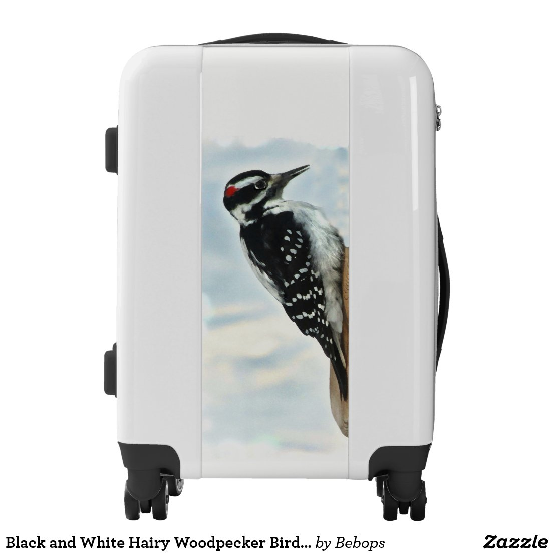 Black and White Hairy Woodpecker Bird Luggage