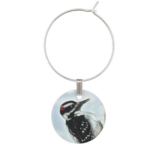 Black and White Hairy Woodpecker Bird Wine Charm