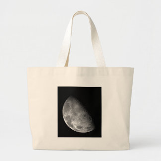 Black and White Half Moon Image Tote Bags
