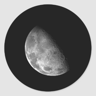 Black and White Half Moon Image Classic Round Sticker