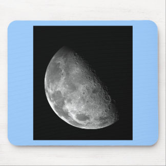 Black and White Half Moon Image Mouse Pad