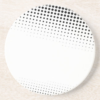 Black and White Halftone Dots Textured Sandstone Coaster
