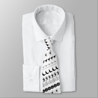 Black and White Halloween Fun Font Art Pattern Neck Tie