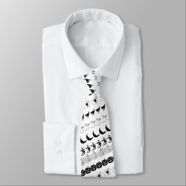 Halloween Themed Black and White Halloween Fun Font Art Pattern Neck Tie