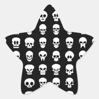 Black and White Halloween Skulls Star Sticker