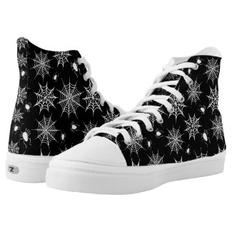 Black and White Halloween Spiders and Cobwebs High-Top Sneakers