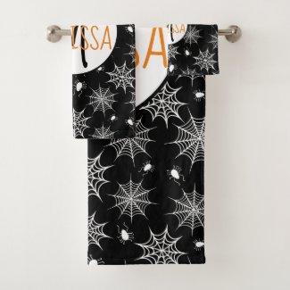 Black and White Halloween Spiders Cobwebs Monogram Bath Towel Set