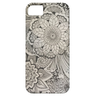 Black and White hand drawn floral iPhone SE/5/5s Case