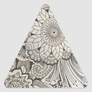 Black and White hand drawn floral Triangle Sticker