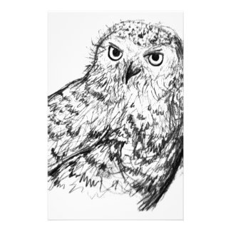 Black and white hand drawn owl stationery