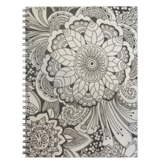 Black and White Hand Drawn Spiral Notebook