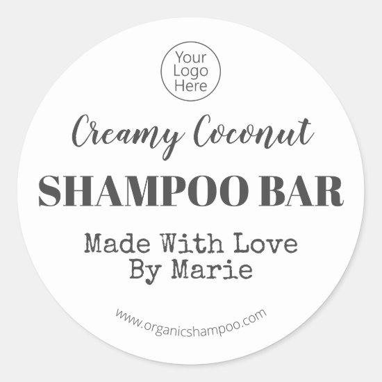 Black And White Handmade Coconut Shampoo Bar Logo Classic Round Sticker
