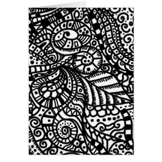 Black and white handpainted doodles card