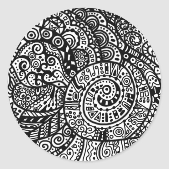 Black and white handpainted doodles classic round sticker