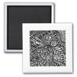 Black and white handpainted doodles 2 inch square magnet