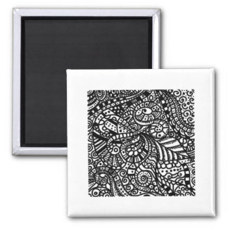 Black and white handpainted doodles magnets