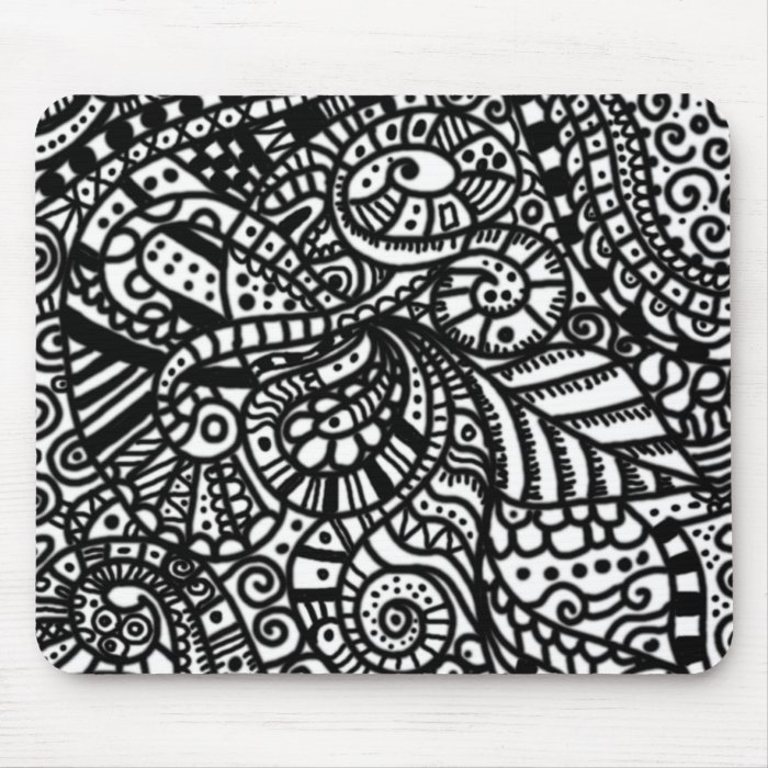 Black and white handpainted doodles mouse pad
