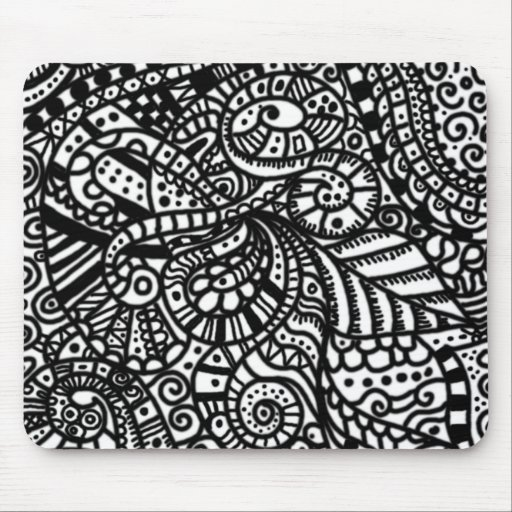 Black and white handpainted doodles mousepad