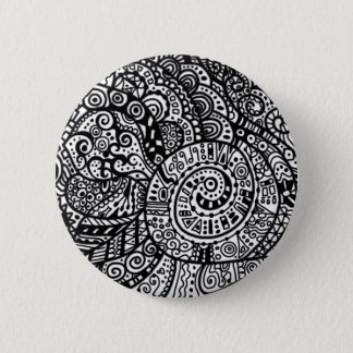 Black and white handpainted doodles pinback button