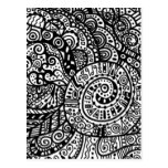 Black and white handpainted doodles post card