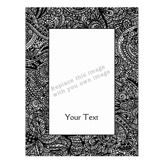 Black and white handpainted doodles postcard