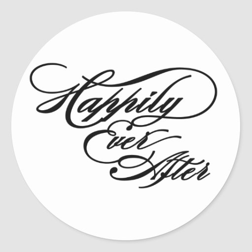 Black and white Happily Ever After sticker