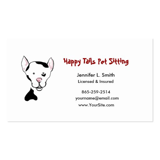 Black and White Happy Dog Pet Sitting Business Card