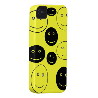 Black and White Happy Faces iPhone 4 Case-Mate Case