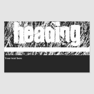 Black and white hard rock scratchy design rectangular sticker