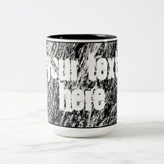 Black and white hard rock scratchy design Two-Tone coffee mug