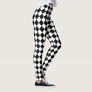 Black and White Harlequin Checks Pattern Leggings