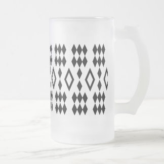 black and white harlequin diamond pattern frosted glass beer mug