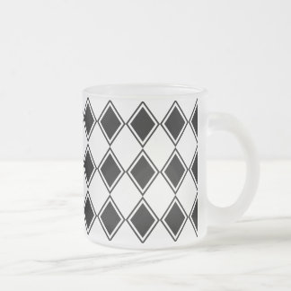 black and white harlequin diamond pattern frosted glass coffee mug
