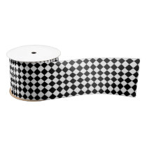 Black and White Harlequin Diamond Pattern Satin Ribbon