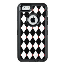 Black and White Harlequin Pattern OtterBox Defender iPhone Case