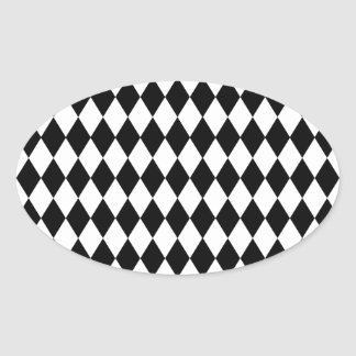 Black and White Harlequin Pattern Oval Sticker