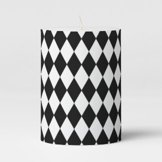 Black and White Harlequin Pattern Pillar Candle