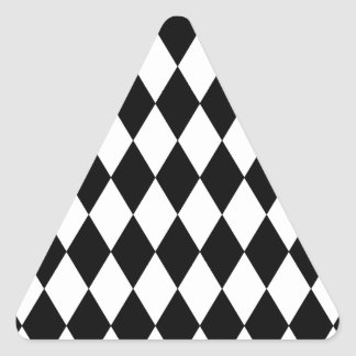 Black and White Harlequin Pattern Triangle Sticker