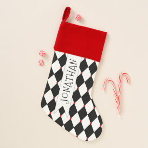 Black and White Harlequin Pattern with Name Christmas Stocking