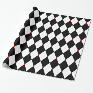 Black and White Harlequin with Red Accents Wrapping Paper