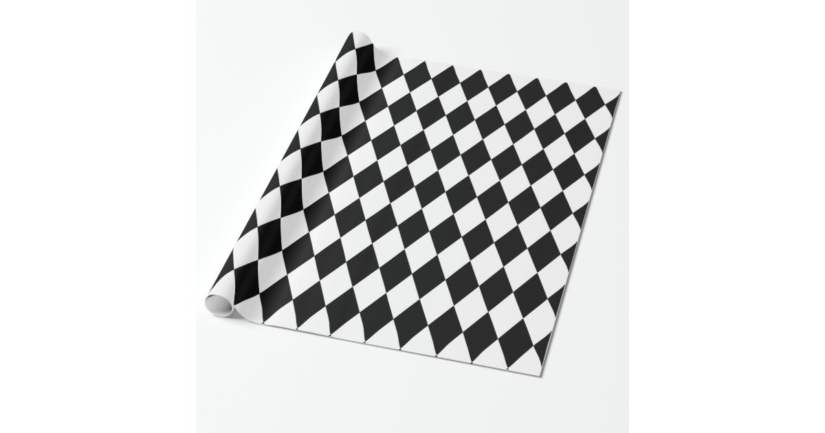 Black And White Harlequin Wrapping Paper Zazzle Com