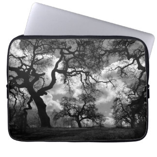 Black and White Haunted Trees Computer Sleeve