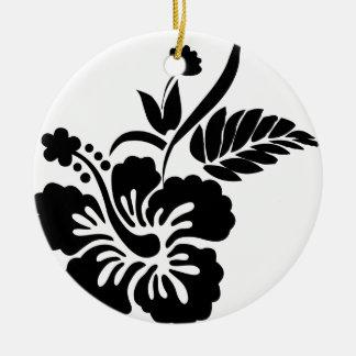 Black and white Hawaiian flowers Ceramic Ornament