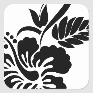 Black and white Hawaiian flowers Square Sticker