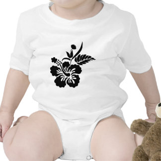 Black and white Hawaiian flowers Bodysuit
