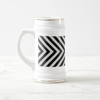Black and White Hazard Stripes Textured Beer Stein