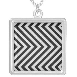 Black and White Hazard Stripes Textured Custom Necklace