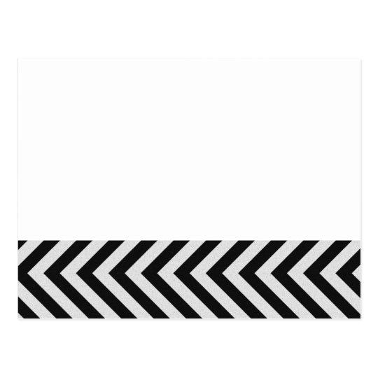 Black and White Hazard Stripes Textured Postcard