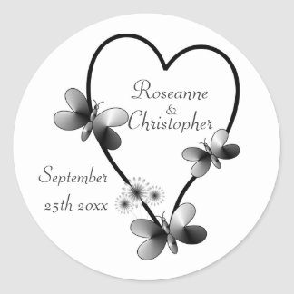 Black And White Heart And Butterflies Bride And Gr Classic Round Sticker