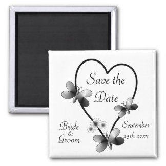 Black And White Heart Butterflies Save The Date Magnet